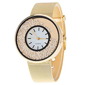 Amazon.com : 3 colours New Fashion Geneva Leather Strap Wave Watch For Women Dress Watch Quartz Watch relojes (Gold) : Baby