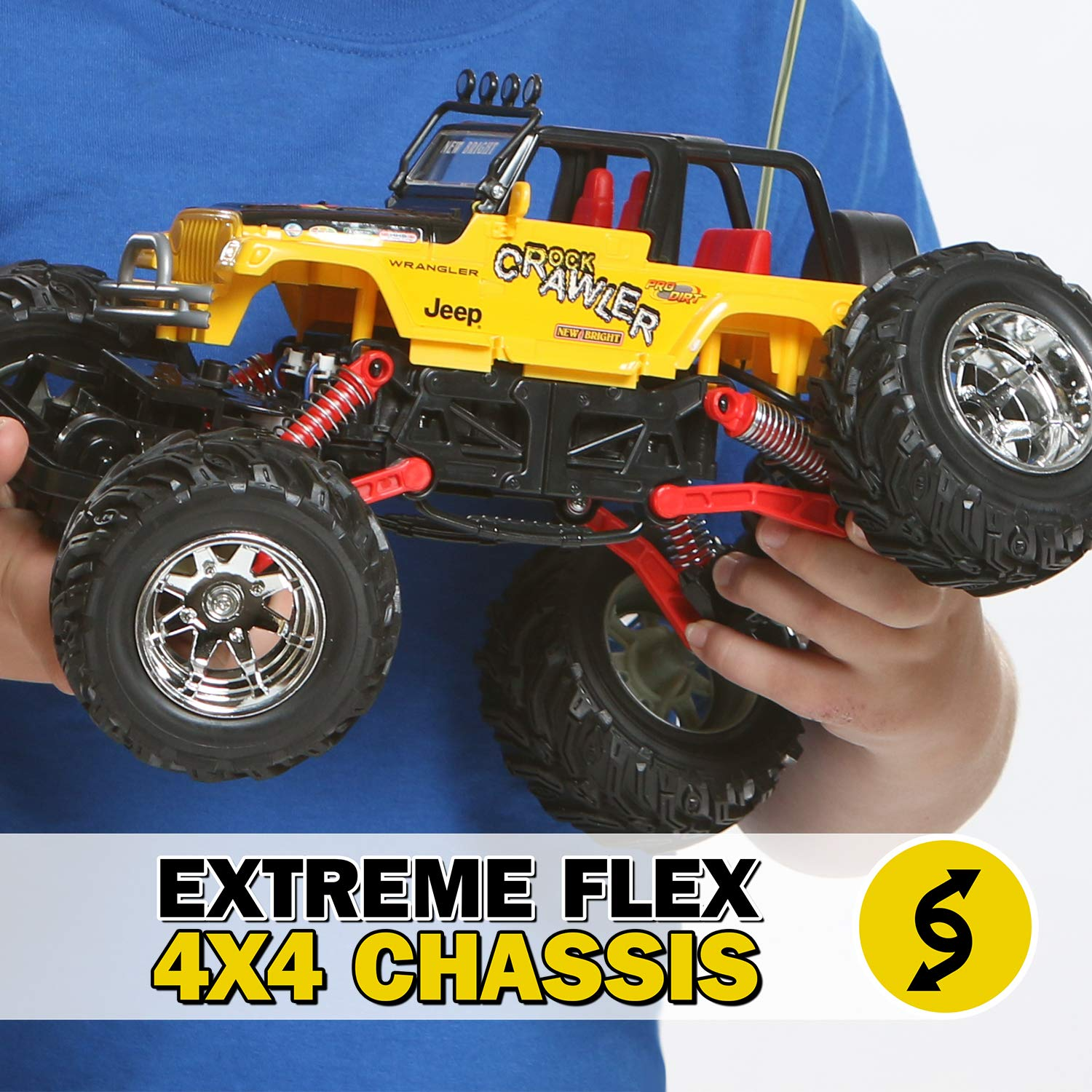 RC CHARGERS Jeep Rock Crawler Off-Road RC Truck   Extreme Flex 4X4 Chassis, Superior Suspension, Off-Road Capable, 27MHz, Pistol Grip Control   AA Batteries Included