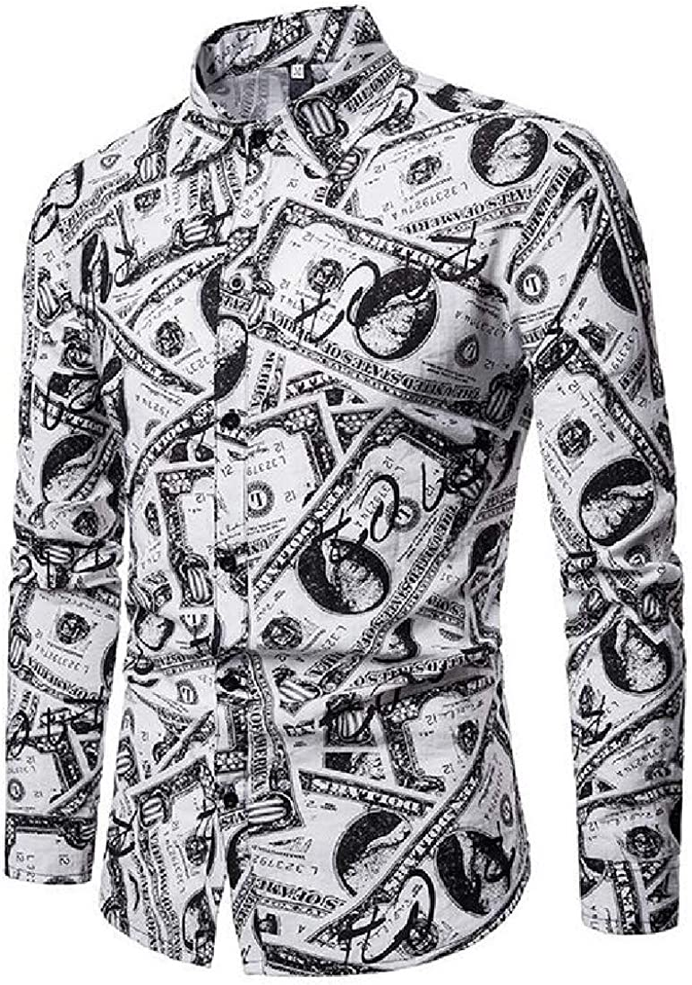 ARTFFEL Men Button Down Stylish Printing Long Sleeve Slim Dress Work Shirt