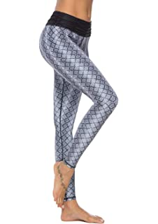 85518a256eea8c Mint Lilac Women's Printed Yoga Pants Full-Length Workout Leggings with Ruched  Waistband