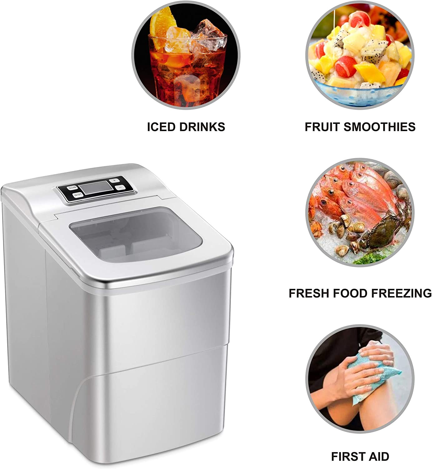 9 Cubes Ready in 6-8 Minutes Joy Pebble Countertop Ice Maker Machine 26lbs//24hrs Portable Ice Cube Maker with Ice Scoop and Basket
