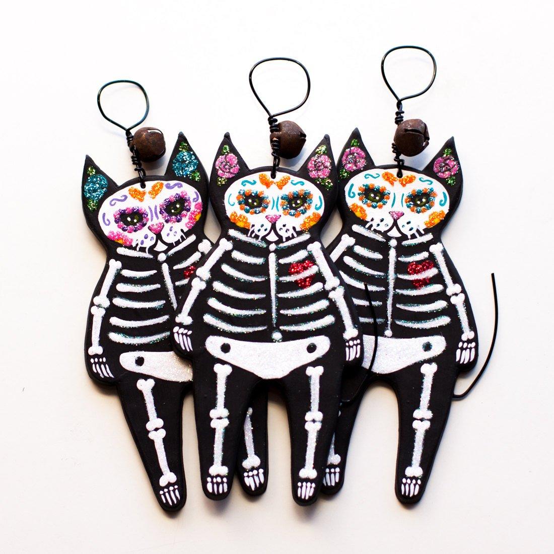 Day of the Dead Skeleton Cat Folk Art Clay Ornament