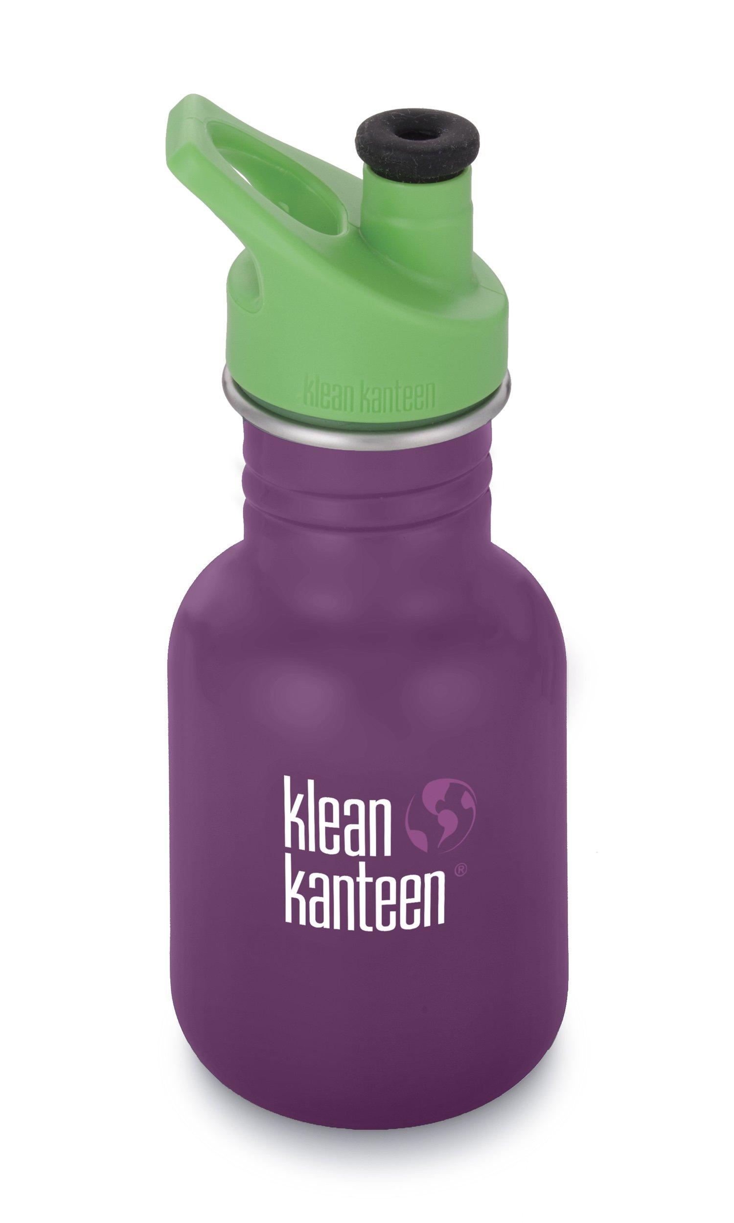 Klean Kanteen Kids Single Wall Stainless Steel Sport Bottle with Klean Coat and Leak Resistant Sport Cap 3.0-12oz - Winter Plum