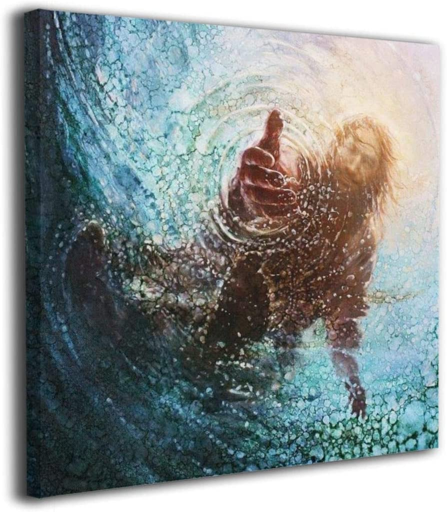 POOPEDD The Hand of God Painting – Jesus Reaching Into Water Oil Canvas Paintings Artwork for Walls Wall Decoration Classical Abstract Wall Art Canvas Ready to Hang 24 x24 inch