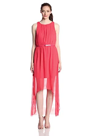 Gabby Skye Women's Sleeveless Belted Hi Low Chiffon Dress, Coral, 4