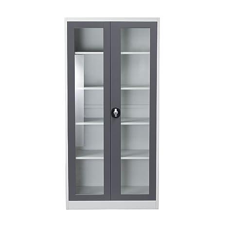 Amazon.com: 2-Door 5-Shelf Bookcase with Tempered Glass Door Front ...