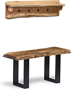"Alaterre Furniture Alpine Natural Live Edge 36"" Coat Shelf Bench and Hook Set"