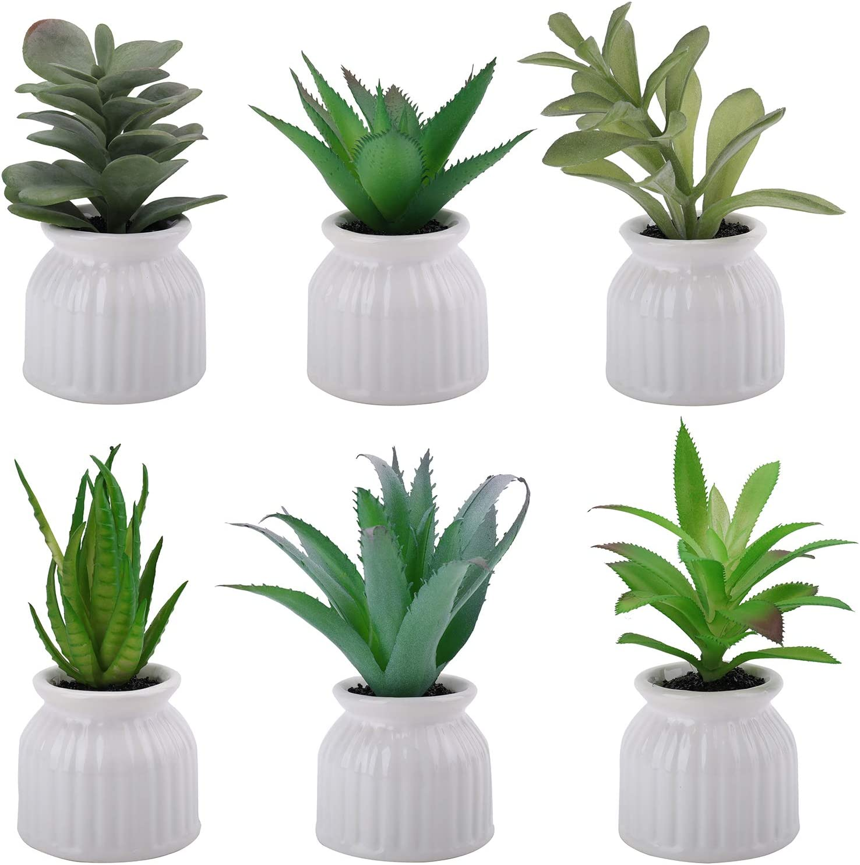 Suwimut 6 Pack Fake Succulent Potted Plants, Mini Artificial Succulent Plants in White Ceramic Planter Pots for Indoor Decor Office Room Decoration