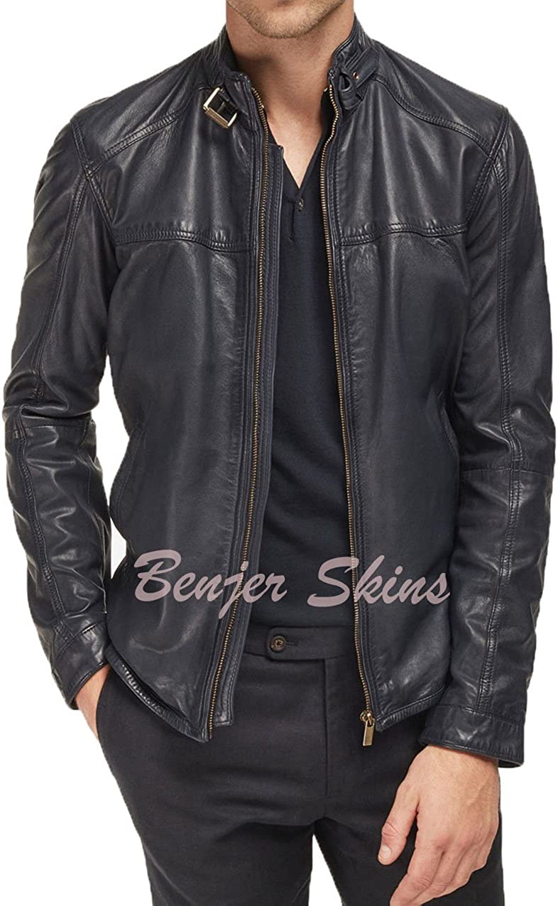 Mens Stylish Lambskin Genuine Leather Jacket 430