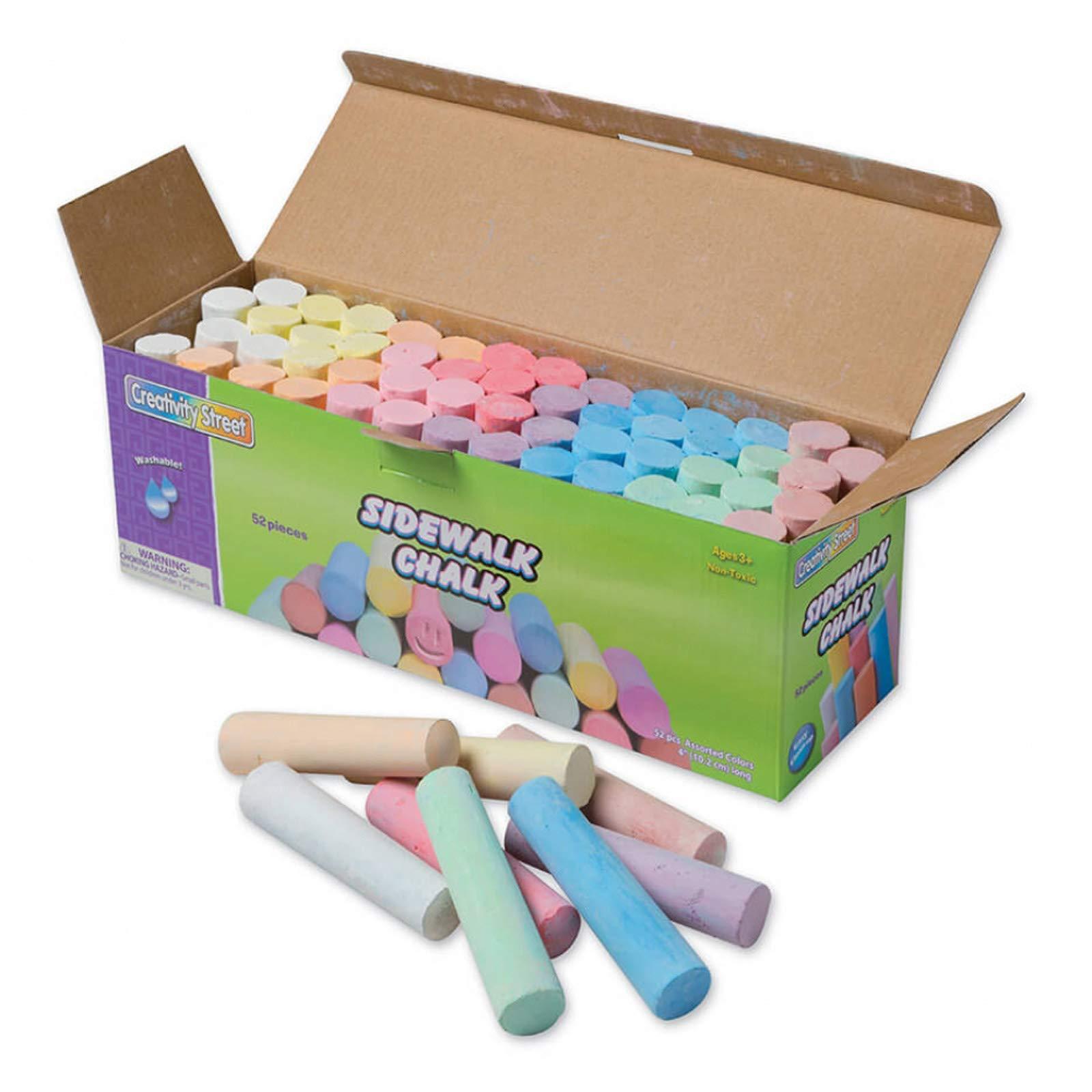 Creativity Street PACAC1752BN Sidewalk Chalk, Assorted Colors, 4'', 52 Pieces Per Pack, 3 Packs by Creativity Street