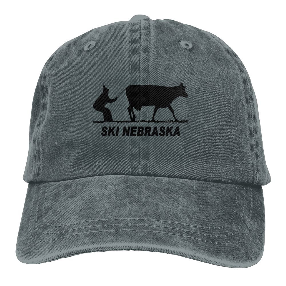 Ski Nebraska Plain Adjustable Cowboy Cap Denim Hat for Women and Men