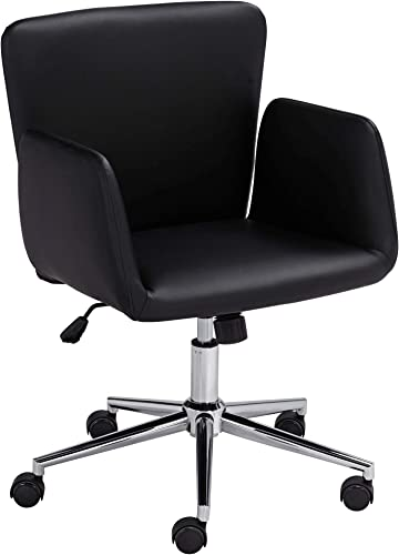 55 Downing Street Megan Black Faux Leather Swivel Office Chair