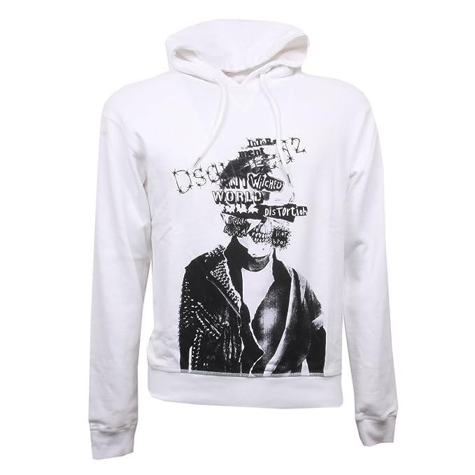 DSQUARED C2940 Felpa Uomo D2 Bianco Sweatshirt Men  S   Amazon.it   Abbigliamento a93598dc11c2
