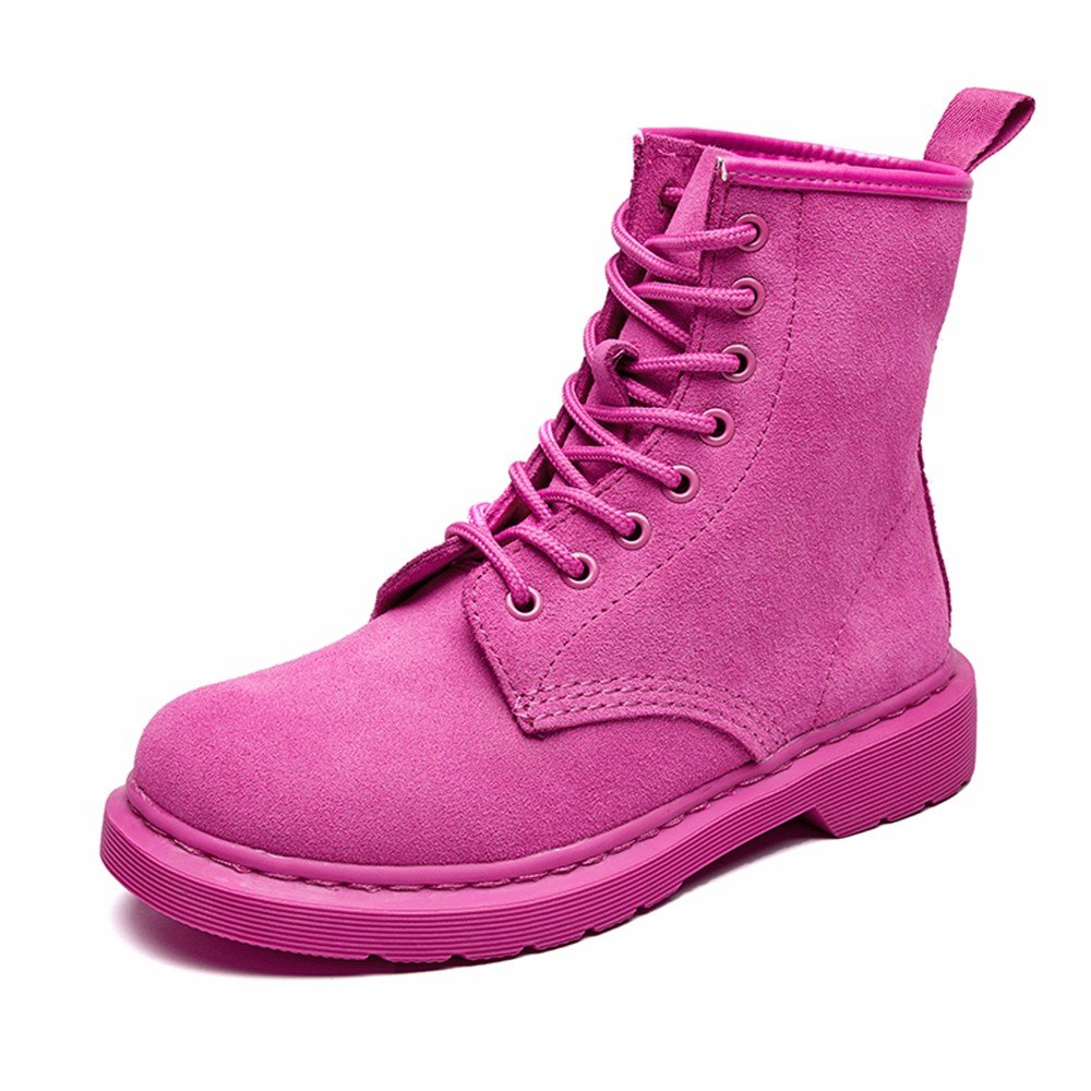 Modemoven Women's Round Toe Lase-up Ankle Boots Ladies Leather Combat Booties Fashion Martens Boots B0773JHZXN 8.5 B(M) US|Pink Suede
