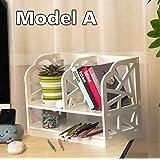 2-Nivel DIY Estantería Organizador de Escritorio Unidad de Caja de Almacenamiento de CD Libros Biblioteca Estante Librería de Exhibición para Mesa de Trabajo Estudio en Hogar Oficina (Modelo A)