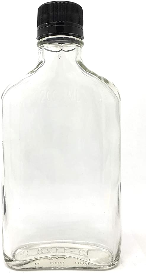 200 ml (6,6 oz) frasco de licor botella de vidrio con tapas de color negro (12 unidades): Amazon.es: Hogar