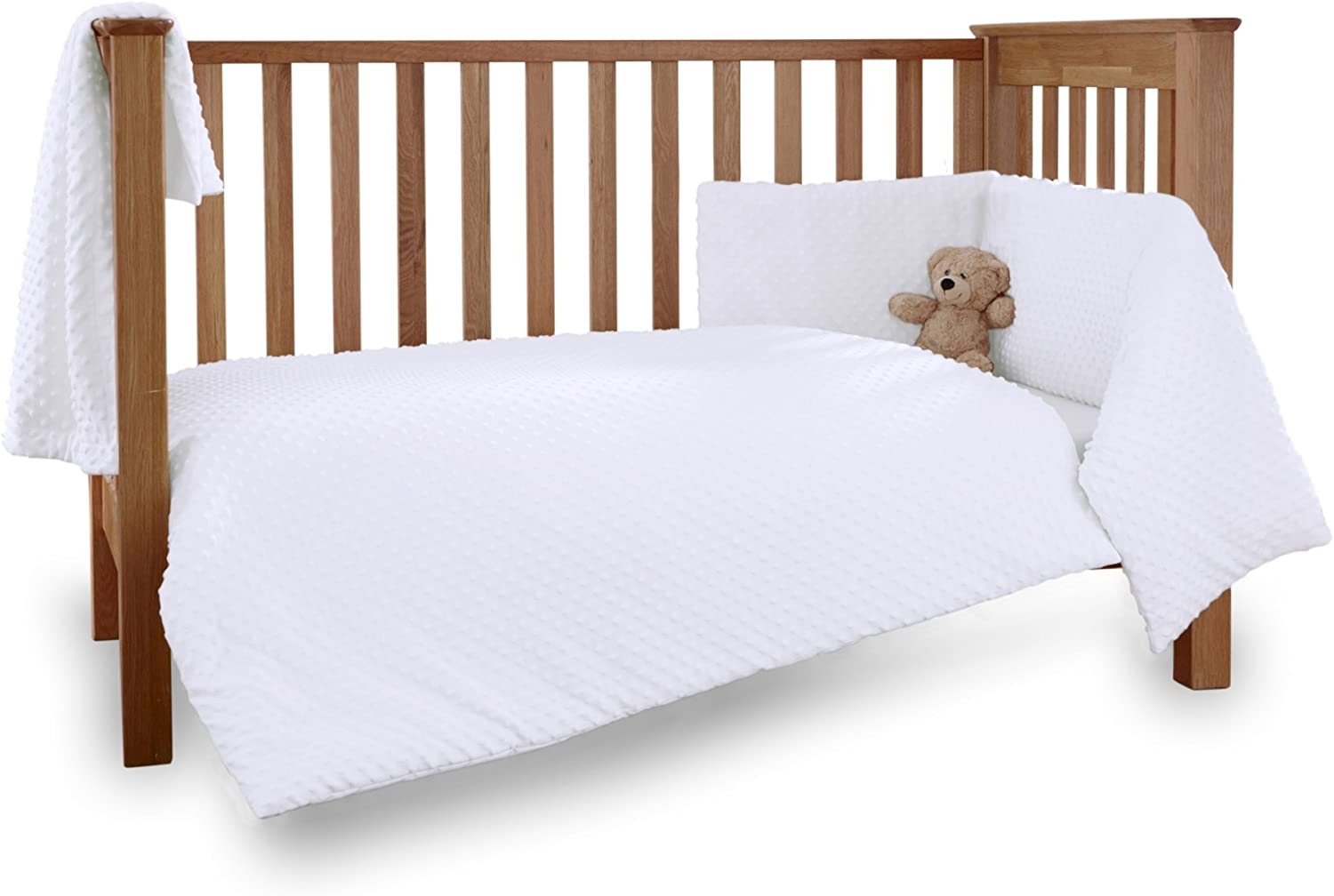 NEW WHITE 2in1 COT-BED 120 x 60 WITH A 3-PIECE BEDDING no 8