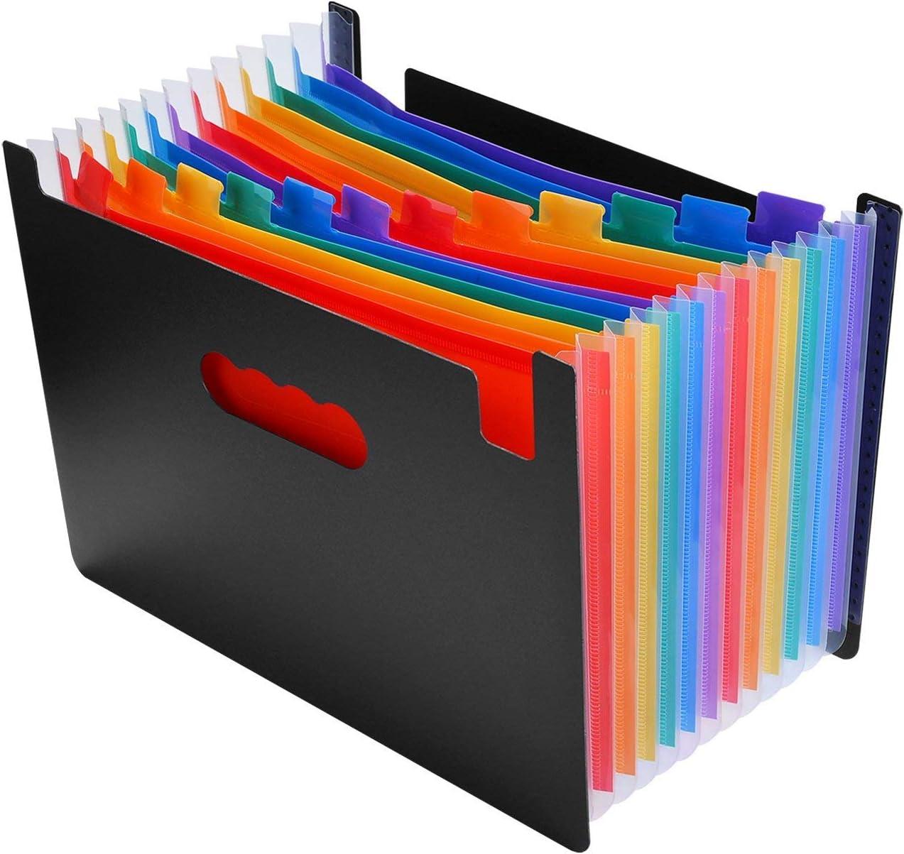 Trieur Extensible 24 Compartiments,A5 Taille//10 x 5,5 Pouces,Chemise Trieur Plastique avec Couvercle//Rangement Bureau Papier Administratif,Range Document Classeur a5 /à Soufflets Valisette Organisateur