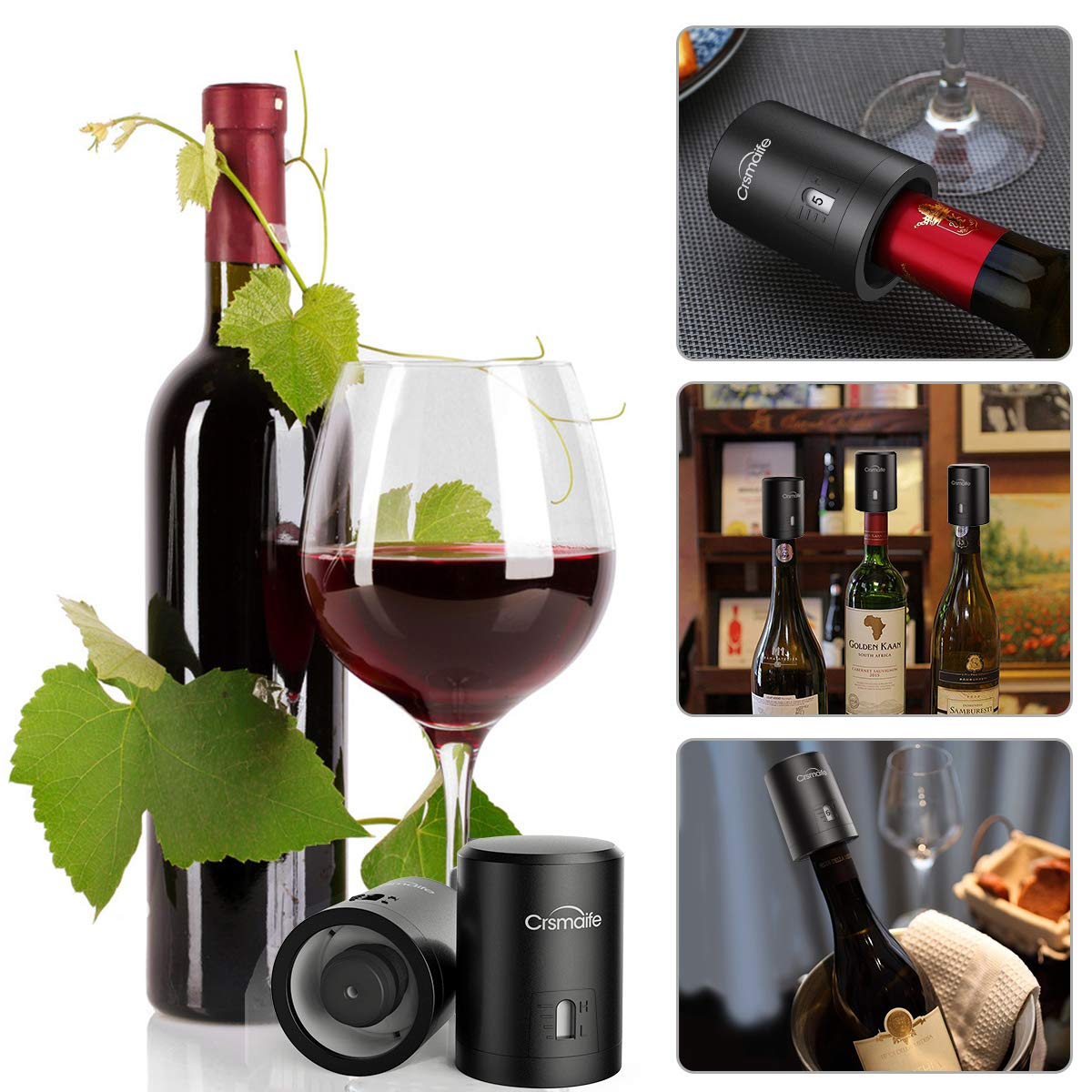 Crsmaife Wine Stopper Vacuum Wine Bottle Stopper Wine Saver Red Wine Pump Date Dial Airtight Display Silicone Valve PC Shell Durable for Wine Fresh 4.8 x 5.7 cm Black