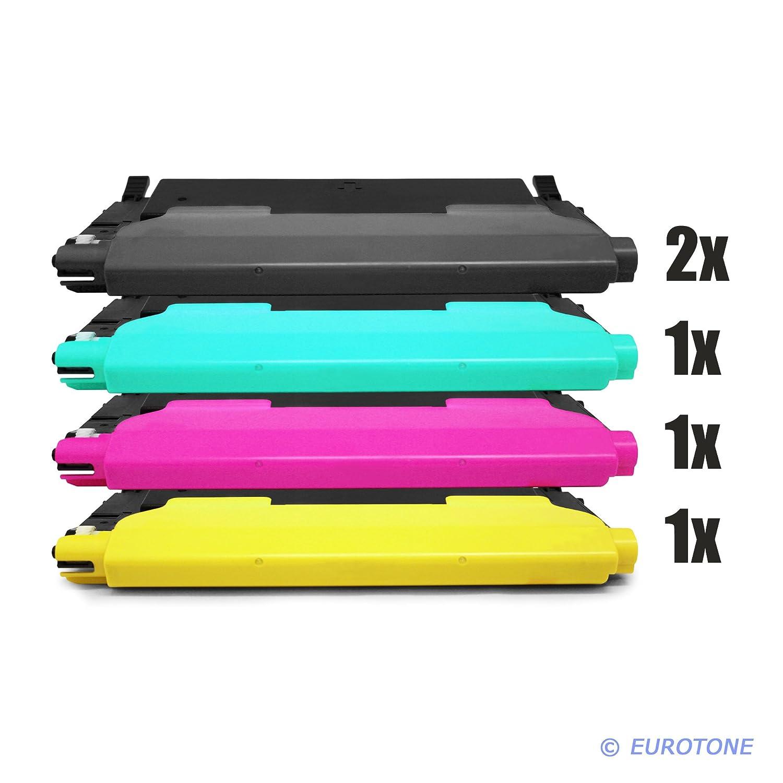 Eurotone Toner mit 50% mehr Leistung für CLP 320, 325 CLX 3180, 3185 ersetzen Samsung 2X CLT-K4072S, 1x CLT-C4072S, 1x CLT-Y4072S, 1x CLT-M4072S Patronen im Bundle Original EUROTONE (ISO-Norm 19798)