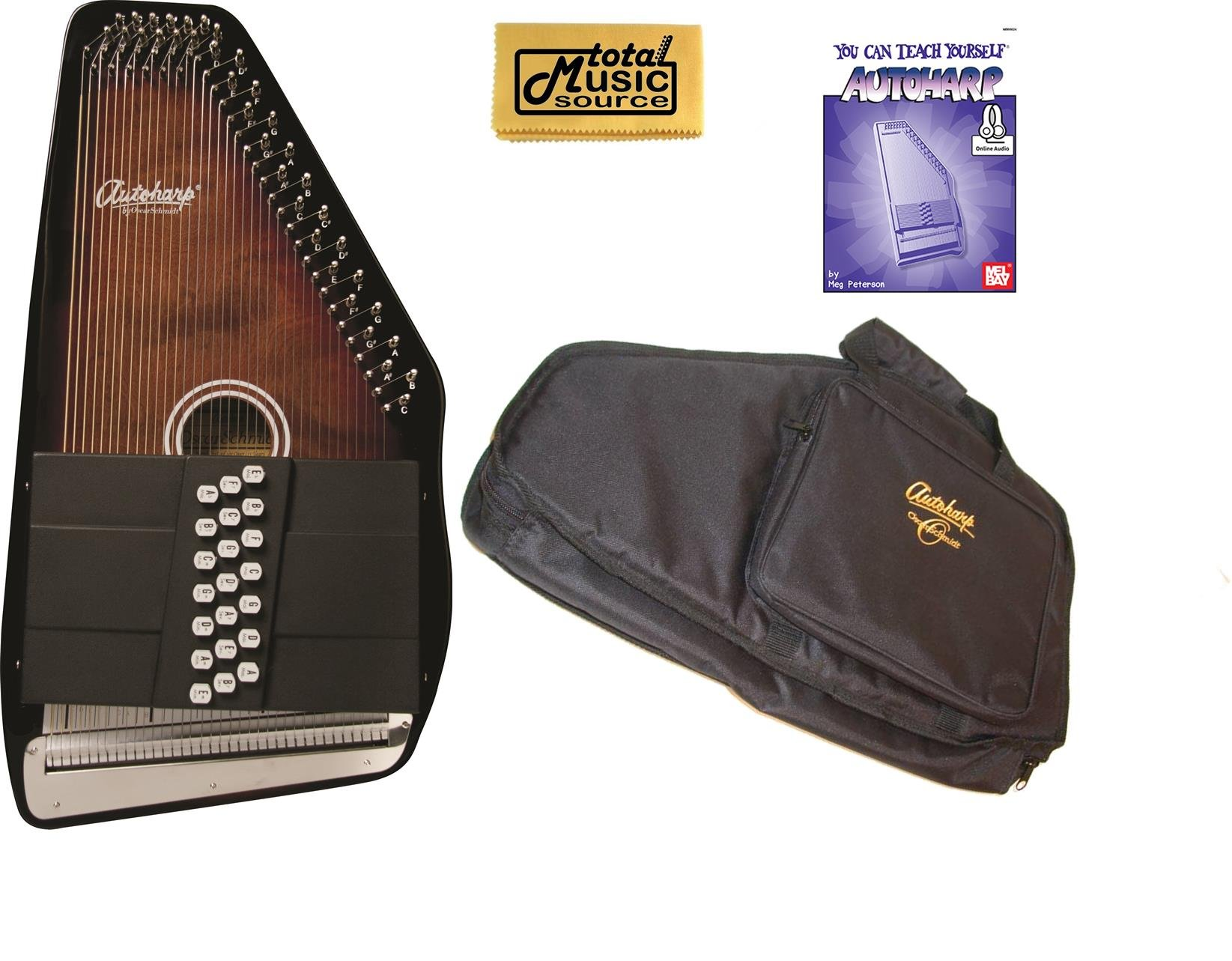 Oscar Schmidt 21 Chord Classic Autoharp w/ Gig Bagm & Melbay Book, OS21C PACKAGE