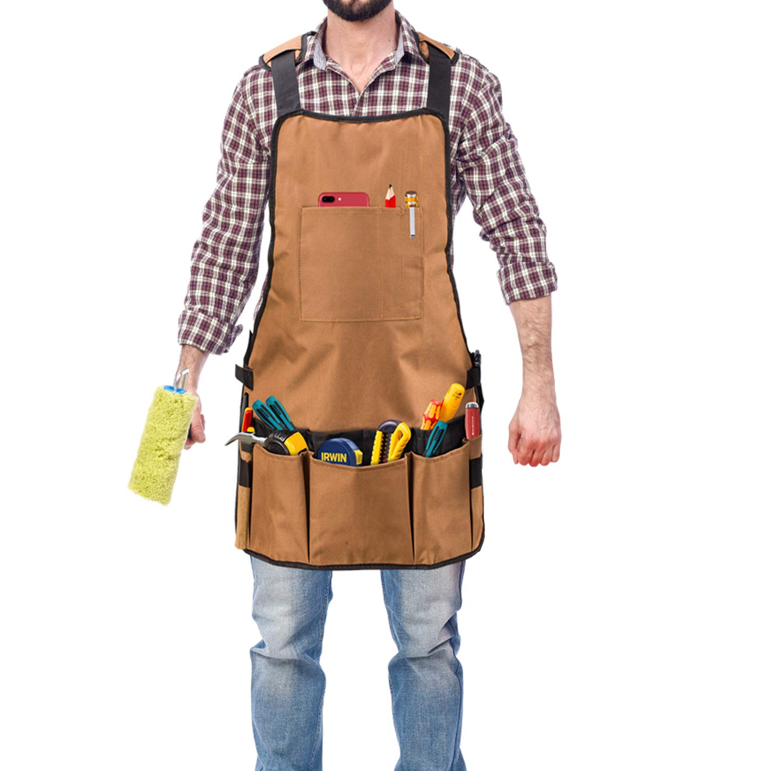 Canvas Work Apron, Heavy Duty Waxed Canvas Shop Apron with16 Tool Pockets-Easy Adjustable-Adjustable Shoulder and Waist Padded Straps-Waterproof and Protective Tool Apron (brown)