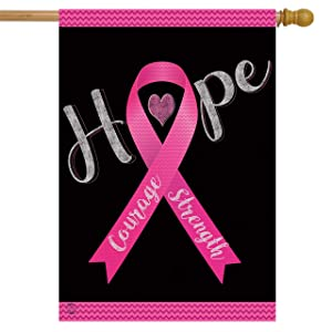 "Briarwood Lane Hope, Courage, Strength Awareness House Flag Breast Cancer Pink Ribbon 28"" x 40"""