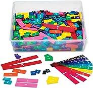 hand2mind Plastic Rainbow Fraction & Decimal Tiles, Bulk Classroom Kit with Storage Tote (15 Set of 51 Pieces)