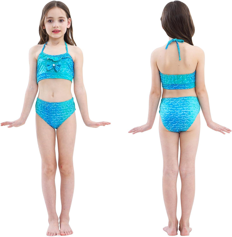 3-4ans 110 , GH06-Blue Maillots de Bain Filles Maillots de Bain Bikini Sir/ène Tails Maillot de Bain avec t/ête Guirlande et Lunettes de plong/ée