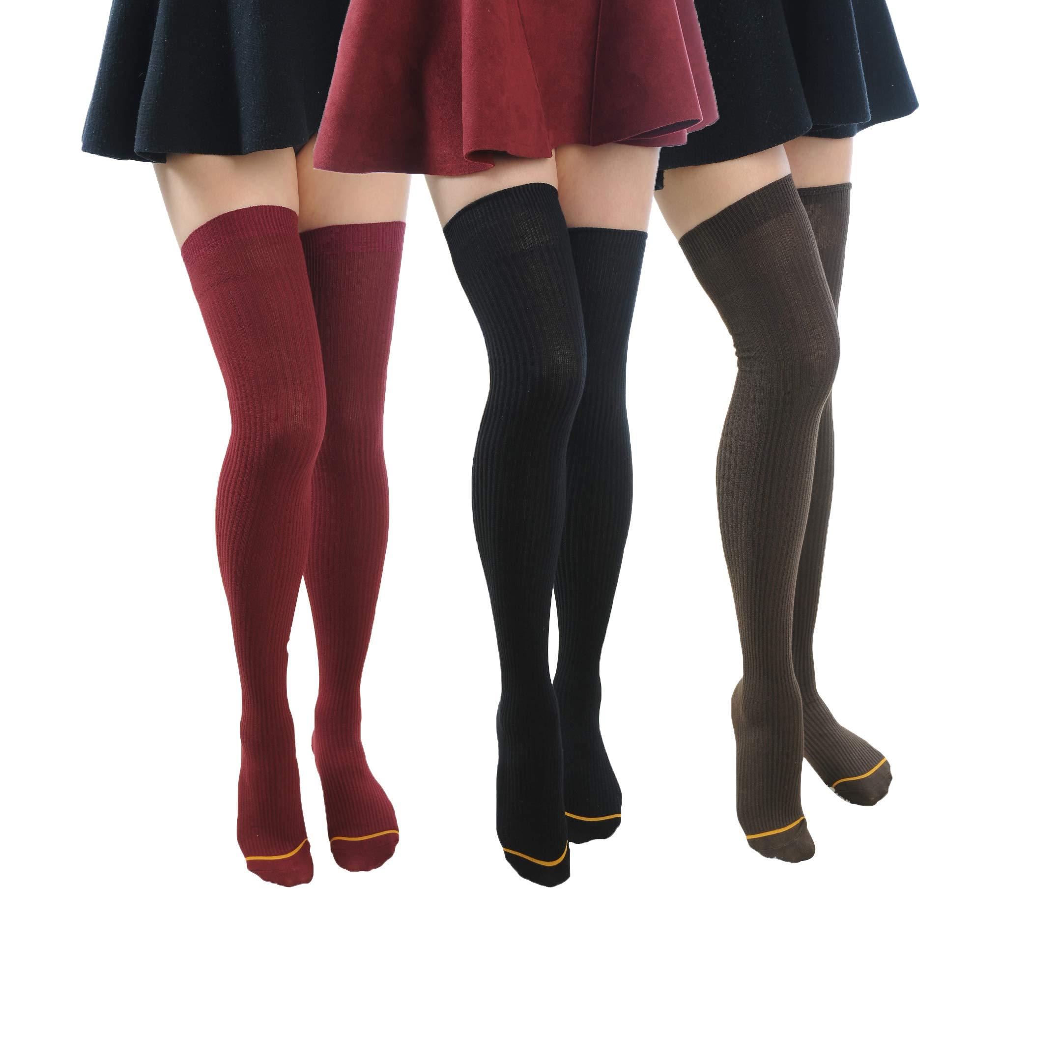 Tengo Women Girls Cotton Thigh High Socks Juniors Knit Boot Socks Leg Warmer 1-3 Packs(Black,Brown,Burgundy)