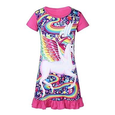 Freebily Enfant Fille Pyjama Chemise De Nuit Licorne Robe Imprimé