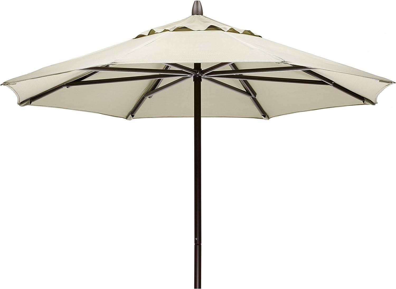 Telescope Casual Furniture Commercial Outdoor Market 7.5 Round Umbrella, Textured Beachwood Frame, Aruba Fabric