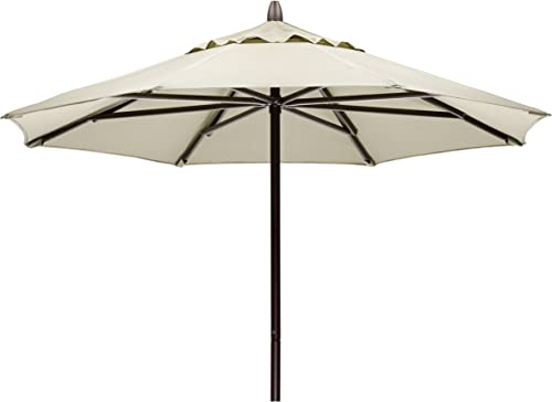 Telescope Casual Furniture Commercial Outdoor Market 7.5 Round Umbrella, Textured Beachwood Frame, Lime Fabric