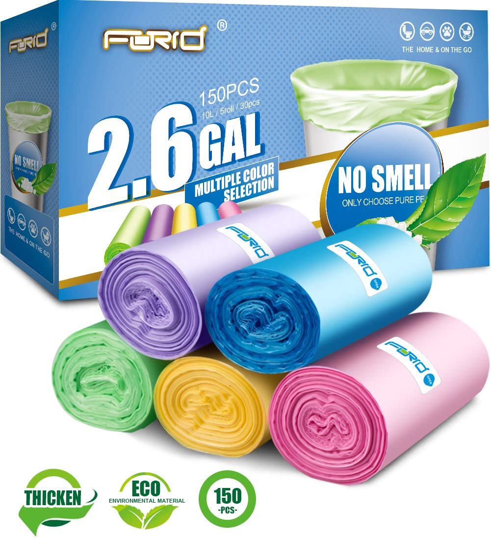 Small Trash Bags,2.6 Gallon Garbage Bags FORID Bathroom Trash can Liners for Bedroom Home Kitchen 150 Counts 5 Color