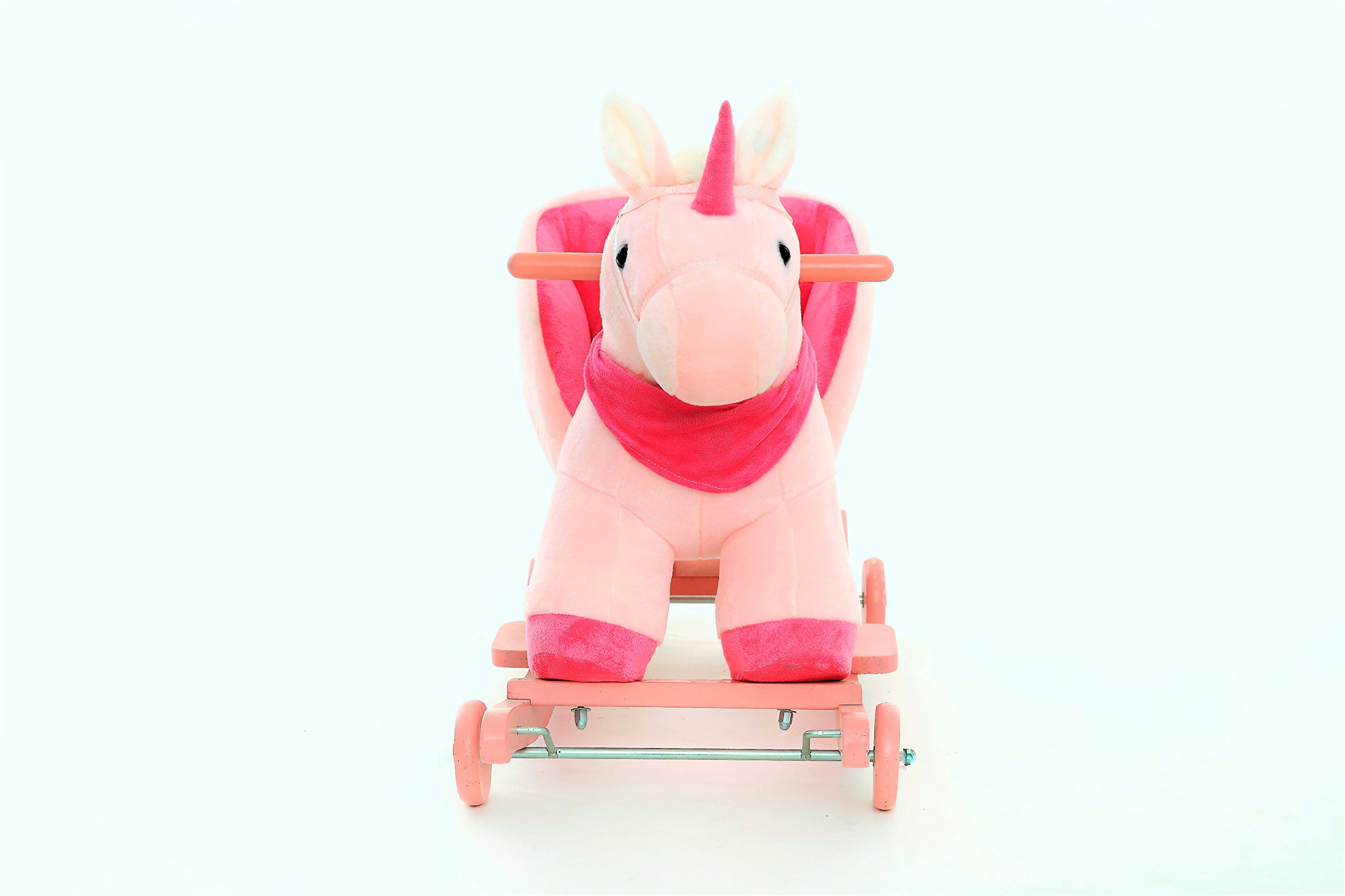 DanyBaby Ultra Soft Rocking Animal Ride On Plush Unicorn Chair with Wheels Embroidered Words ''I Love My Baby!''
