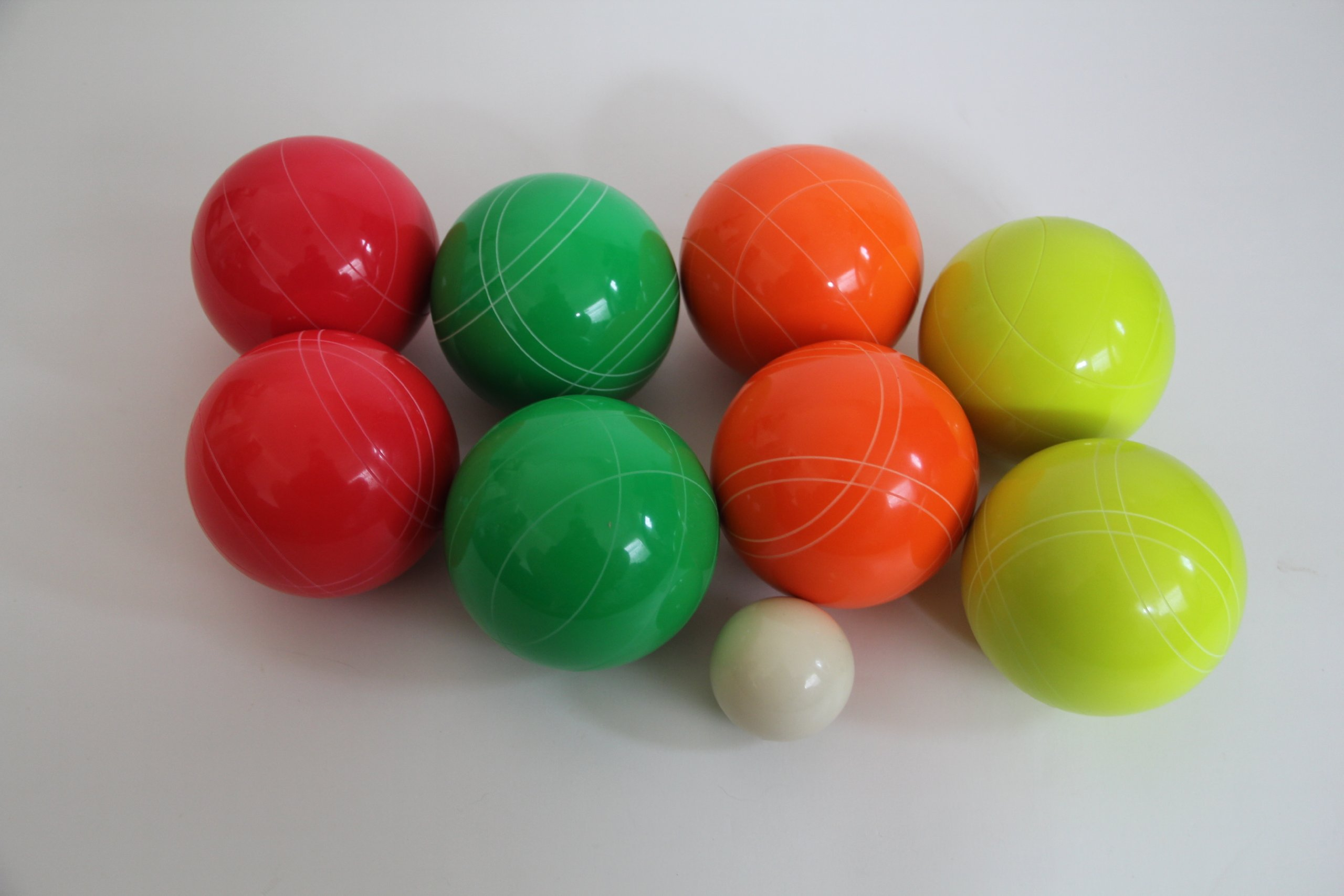 Premium Quality EPCO GLO Tournament Set, with Stripes - 110mm Green, Red, Yellow, Orange Bocce Balls - NO B... by Epco