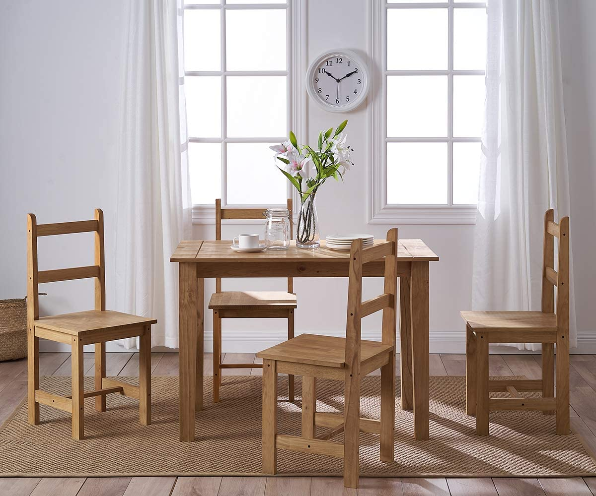 Panana Solid Wood Pine Dining Table Set and 9 I Shape chairs set ...