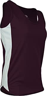 product image for PT-980W-CB Women's Single Ply Light Weight Dash Track Singlet-Odor Resistant (X-Large, Maroon/White/Maroon)