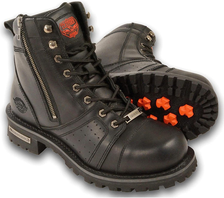 Milwaukee Leather Mens Waterproof Logger Boot Round Toe Black 8.5 EE
