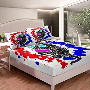 Erosebridal Tie Dye Fitted Sheet Queen Size Abstract Hippie Sheet Set for Youth Girls,Hip Hop Dance Bed Sheet Urban Street Art Bed Cover,Artsy Hand Drawn Sketch Gypsy Bedroom Decor Red Blue