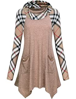 e7765da5686 JCZHWQU Women s Cowl Neck Asymmetric Hem Colorblock Tunic Tops