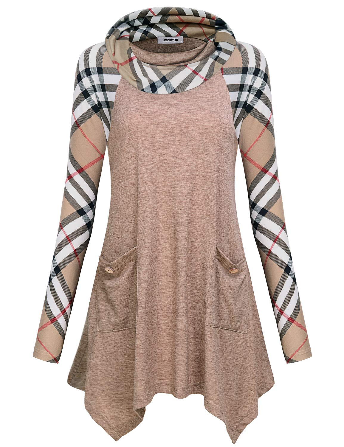 Tunic Tops for Leggings for Women , Misses Vintage Plaid Print Cowl Neck Youth Shirts and Blouses Flattering Fashion Long Sleeve Flows Handkerchief Hem Sweatshirt Christmas Clothing Gift Beige XL