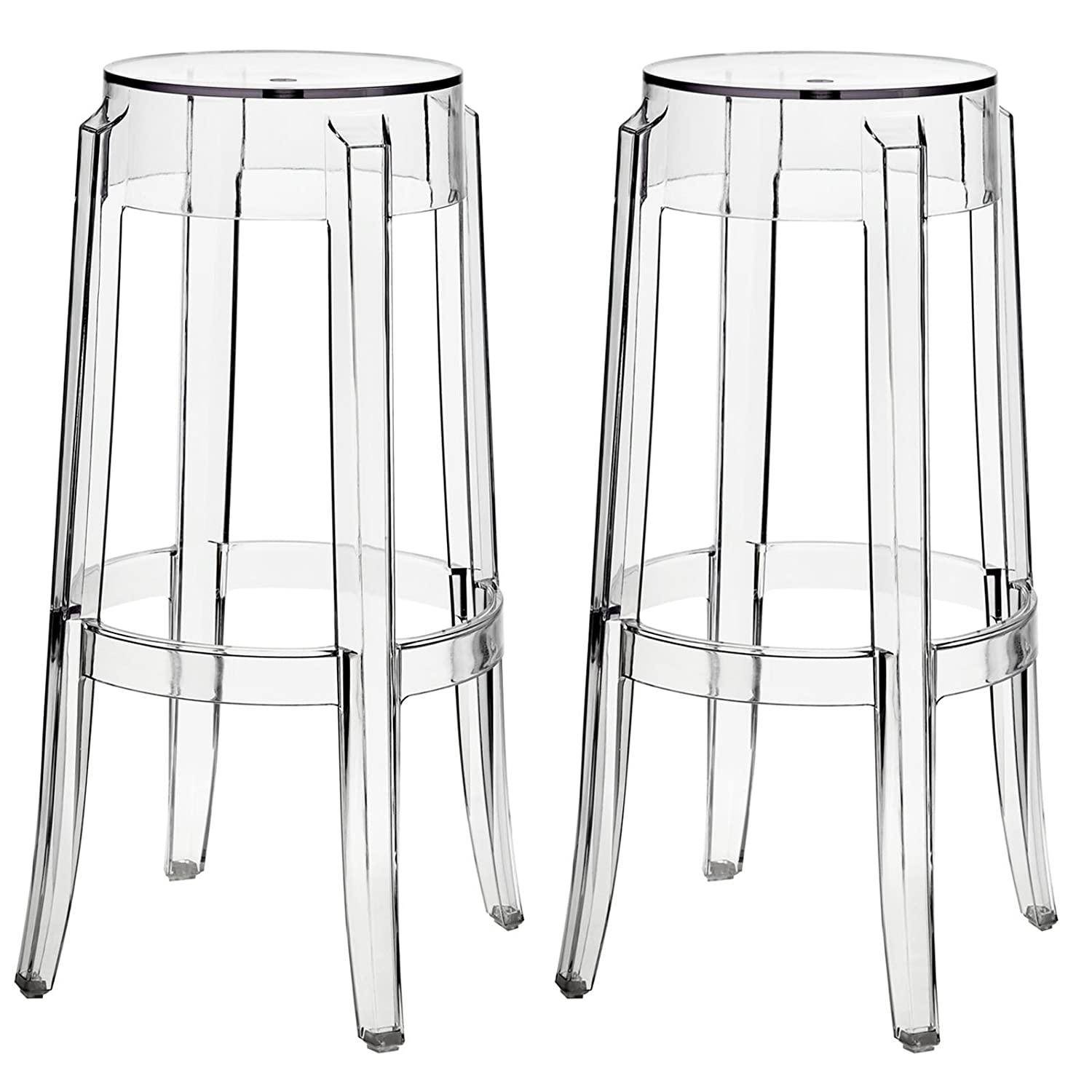 Acrylic Barstool Amazoncom Modway Casper Bar Stools Set Of 2 In Clear Kitchen