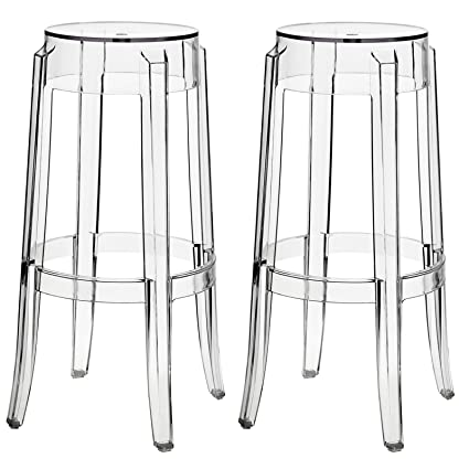 Pleasant Amazon Com Modern Contemporary Clear Bar Stools Set Of Two Unemploymentrelief Wooden Chair Designs For Living Room Unemploymentrelieforg