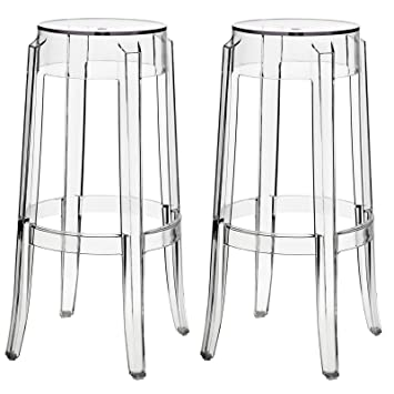 modway casper bar stools set of 2 in clear