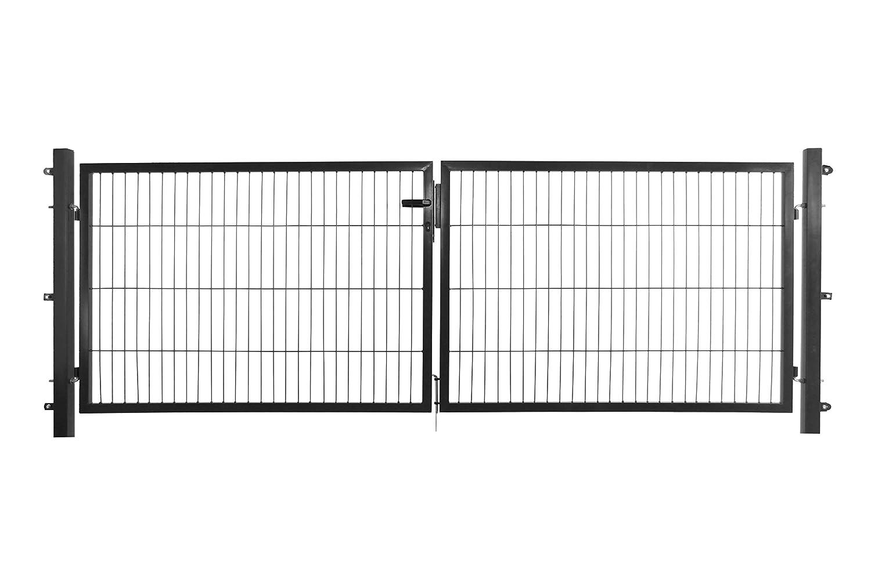 Arvotec - Doppia Porta a Battente, 250 x 50 mm, 2 x 1500 x 750 mm, con Pali e Materiale di Fissaggio, con raccordi per Recinzione ad Asta, Colore: Antracite