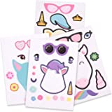 24 Make A Unicorn Stickers for Kids - Unicorn Theme Birthday Party Favors | 5.9 x 8.3 inches, 4 styles | Fun Craft Project Unicorn Party Supplies for Children 3+