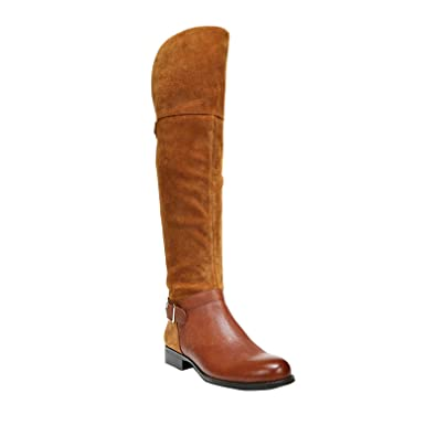Naturalizer Women's July Wide Calf Dark Camel Suede/Banana Bread Leather  Boot 6 WW (