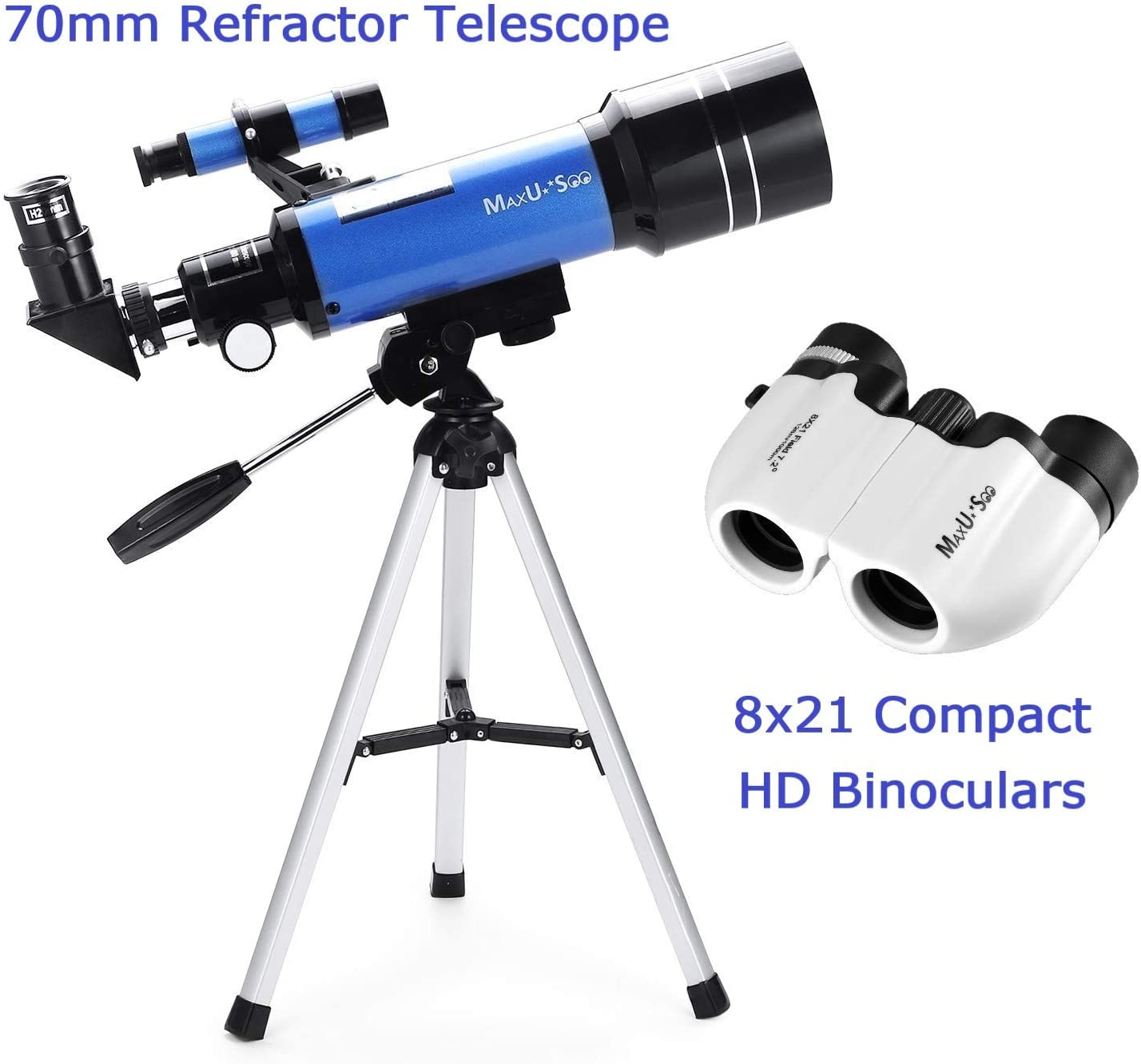 MaxUSee Travel Scope with Backpack 70mm Refractor Telescope /& 10X50 Full-size HD Binoculars for Moon Viewing Bird Watching Sightseeing