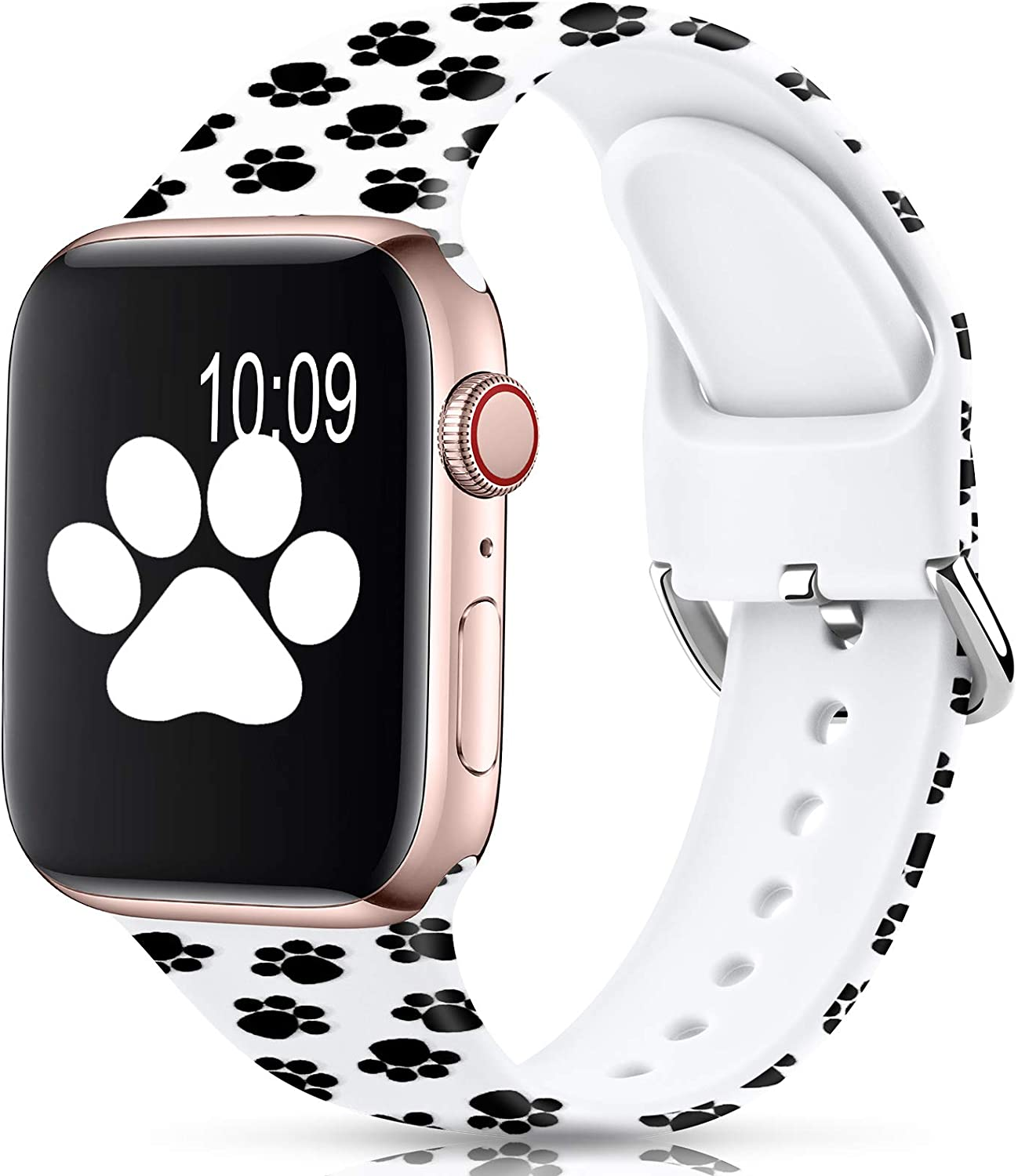 Sport Band Compatible with Apple Watch Bands 38mm 40mm 42mm 44mm for Women Men,Floral Silicone Printed Fadeless Pattern Replacement Strap Band for iWatch Series 3 6 5 4 2 1 SE,Paw,38/40 mm M/L